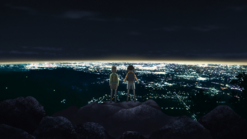 Aoi and Hinata view the night scenery from atop Mt Tsukuba.