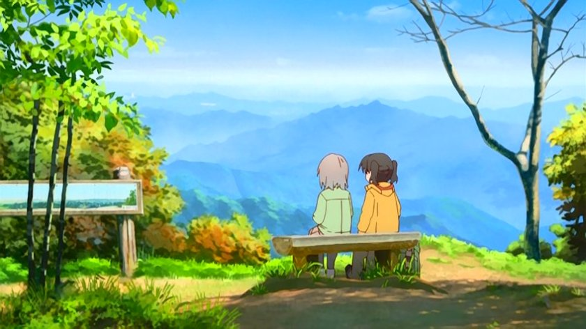 Aoi and Hinata enjoying the scenery and mountain coffee.