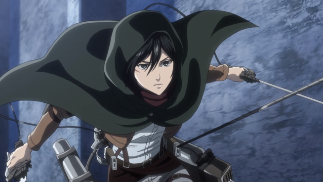 Mikasa using ODM gear at Shiganshina