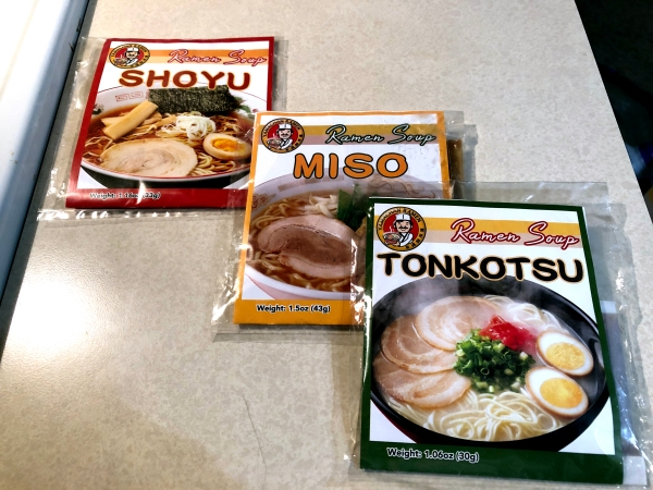 Packages of instant ramen broth.